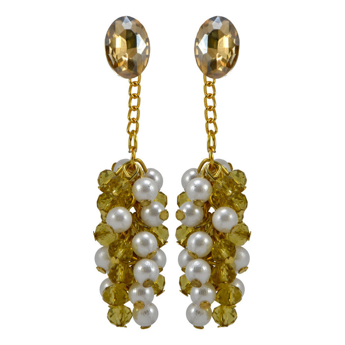 Pearl Bunch Drop Earrings with Stone Stud