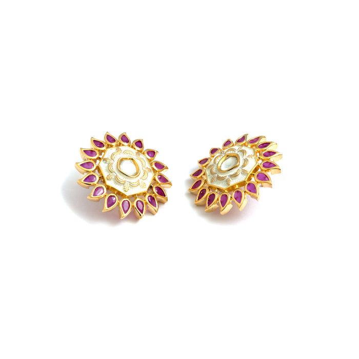 Flower Kundan Decorative Stud Earrings