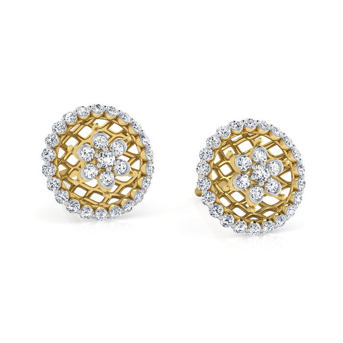 Mesh Stud Sterling Silver Earrings with CZ