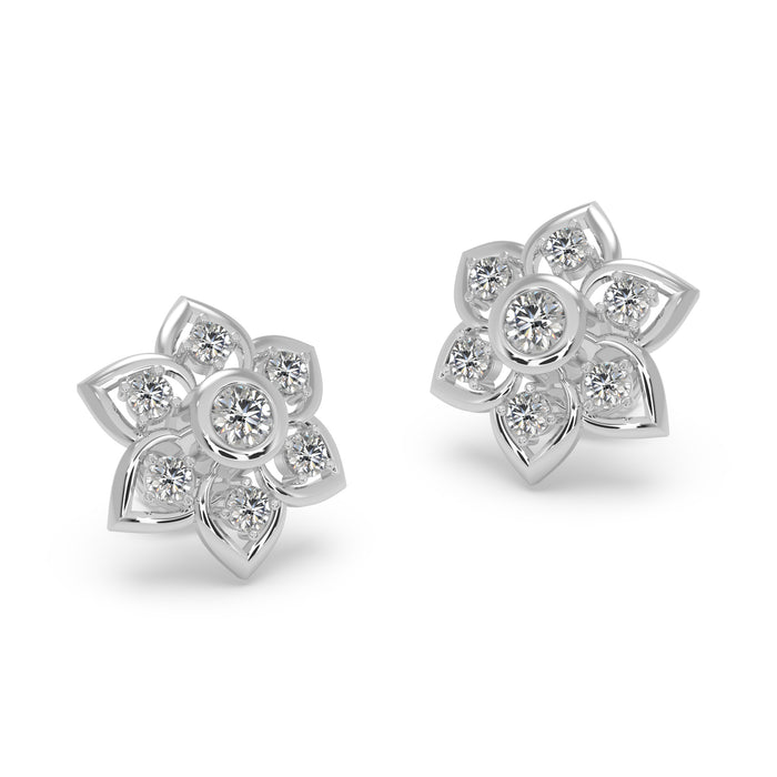 Vibrant Floral Sterling Silver Earrings