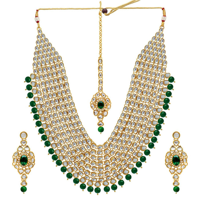 Infinite Kundan Necklace with Green Pearl and Stone