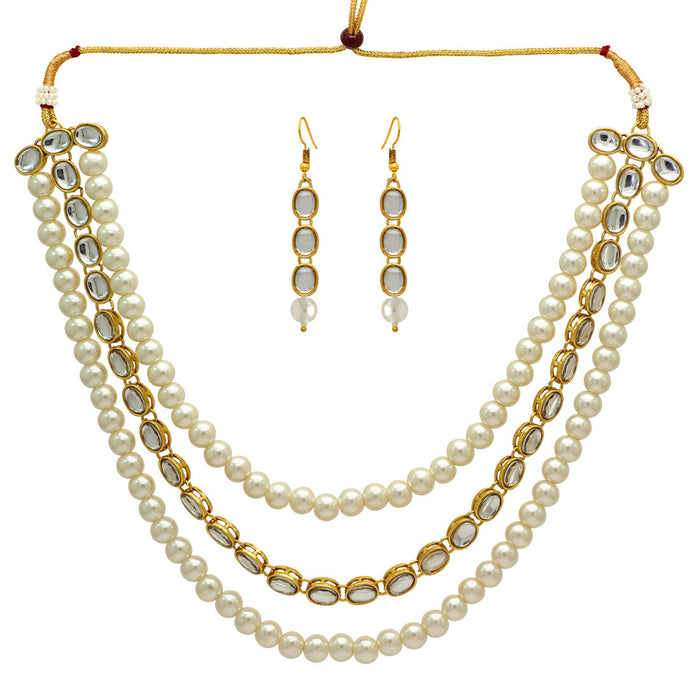 Three Layer Pearl and Kundan Necklace