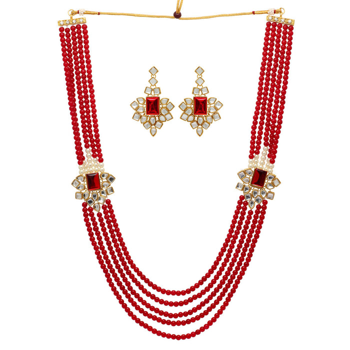 Vibrant Necklace with Stones and Pearl