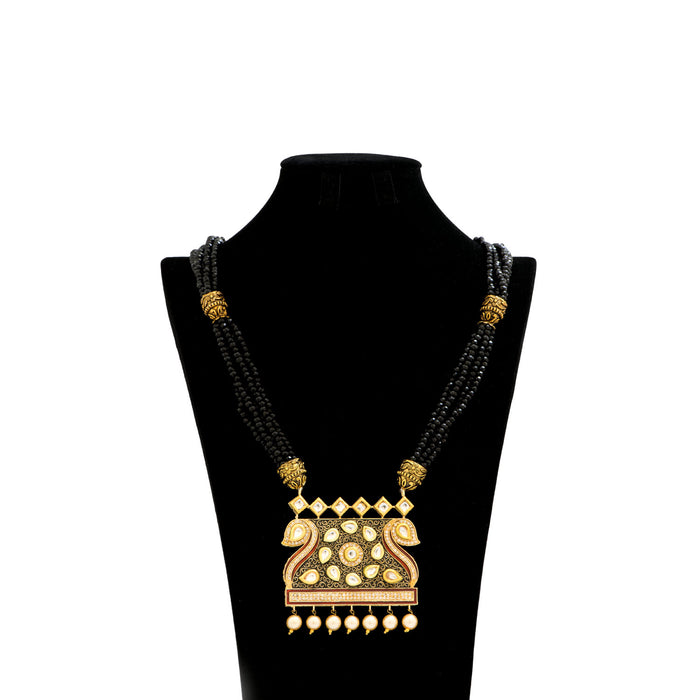 Ethnic Jaipuri Designer Necklace with Pearls