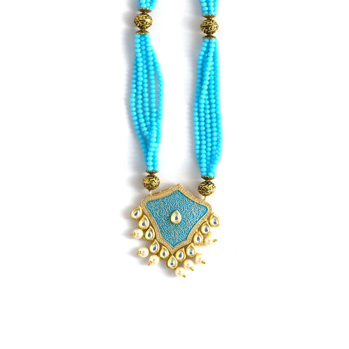 Aqua Jaipuri Thewa Necklace with Pearls