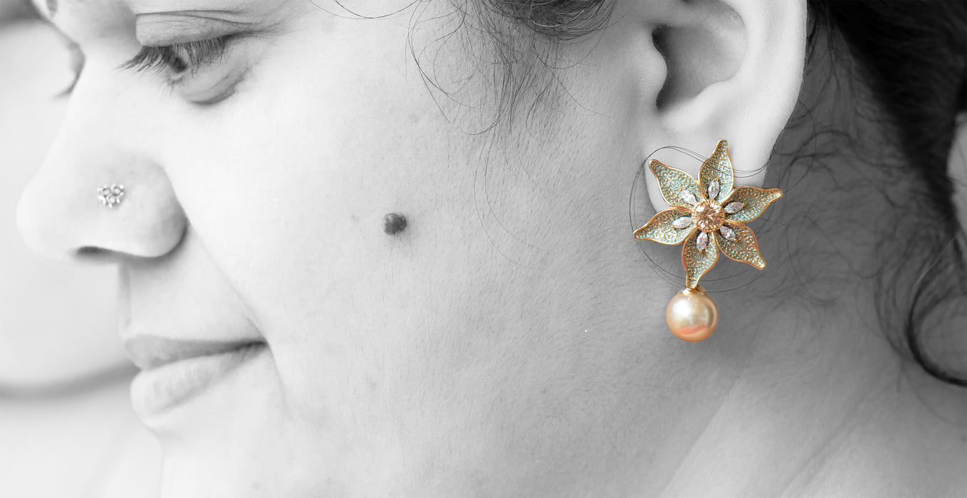 Floral Stud with Pearl Drop and AD