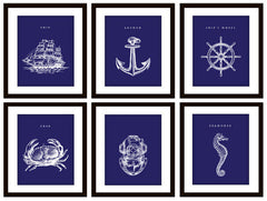 Nautical Blue Bathroom Art Prints