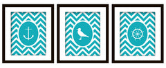 Nautical Bathroom Art Print Set of 3