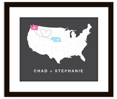 Art Print of USA Love Map