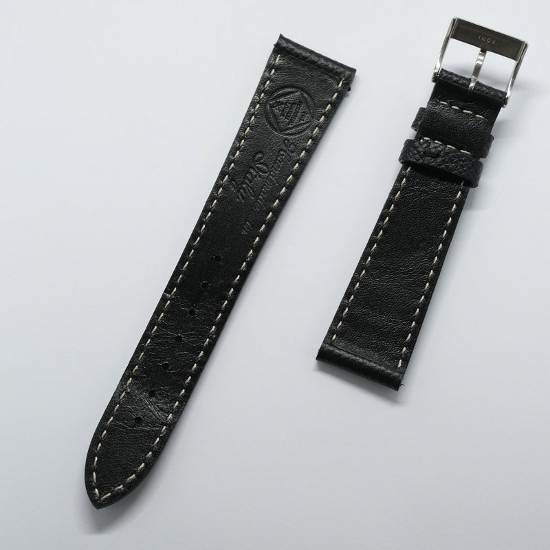Black - grained calf leather - white stitch Perpetual Watch Lover