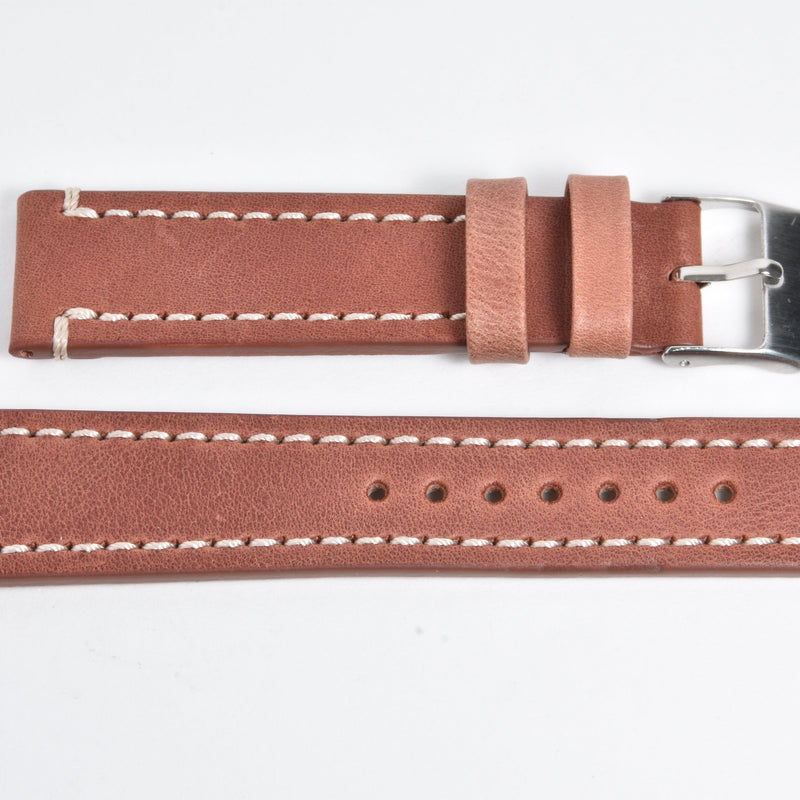 calf leather - double stitch - Light Brown Perpetual Watch Lover