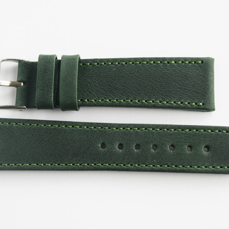 Calf Leather - stitched - olive green Perpetual Watch Lover