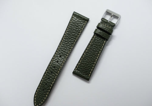 Forest green - grained deer leather - white stitch Perpetual Watch Lover