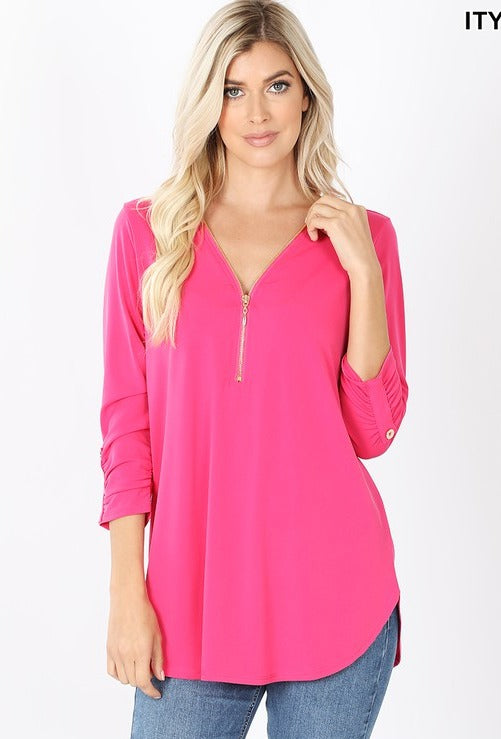 HOT PINK  ITY FRONT ZIP-UP 3/4 SLEEVE TOP