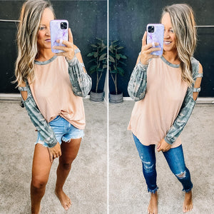 CAMO RAGLAN CUT OUT LONG SLEEVE TOP - MAUVE