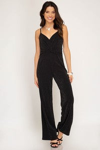 Black + Gold Sparkle Jumpsuit