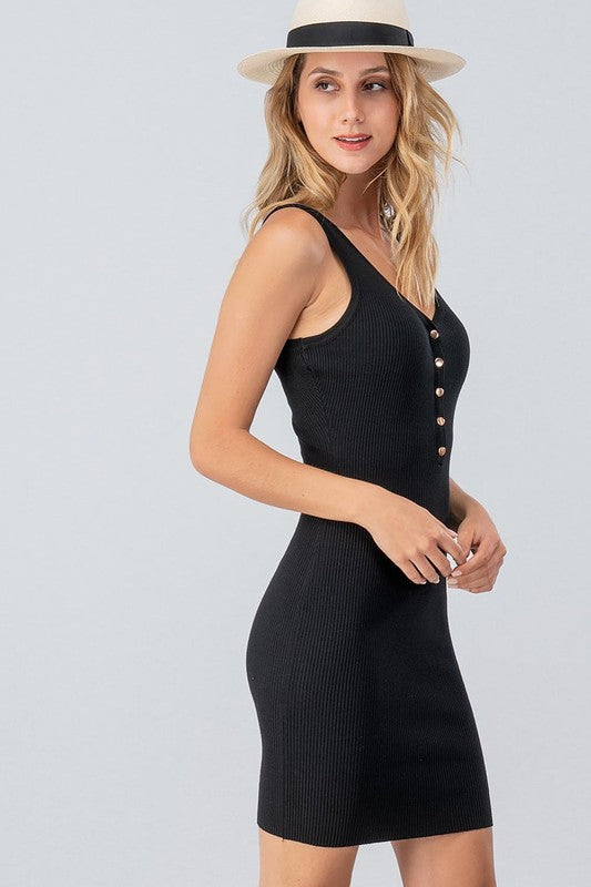 BLACK RIBBED BODYCON SNAP BUTTON MIDI DRESS