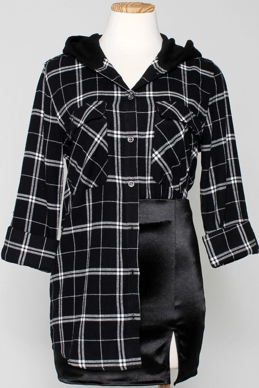Black + White Hooded Plaid Top