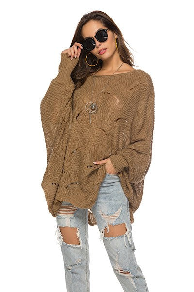 Mocha Cut Out Poncho