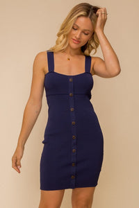 NAVY BUTTON DOWN FRONT BODYCON SWEATER DRESS