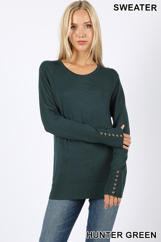 ROUND NECK ROSE GOLD BUTTONS DETAIL SWEATER - MULTIPLE COLORS