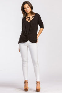 Strapping Neck Front Twist V-Neck Top