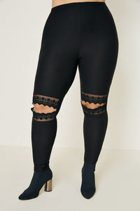 Curvy Lace Cut-Out Brushed Legging - Black