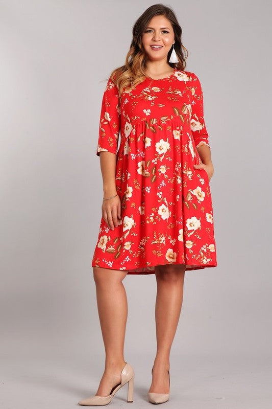 Curvy Red Floral Midi Dress