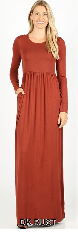Solid Long Sleeve Maxi Dress - Multiple Colors