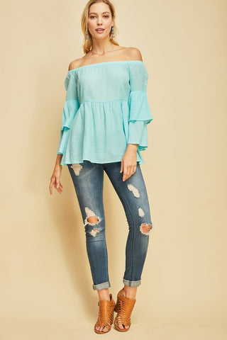Weekend Bell Sleeve Off the Shoulder Top - Aqua
