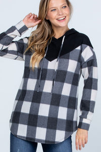Black + White Fleece Buffalo Plaid Hoodie - All Sizes