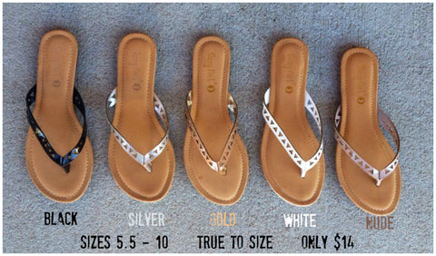 Triangle Cutout Flip Flops