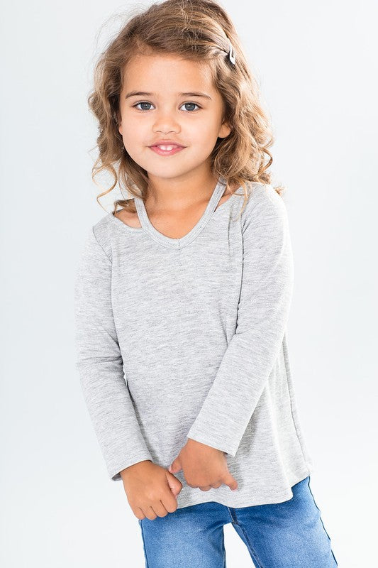 Kids -- Grey Cut Out Neckline Top