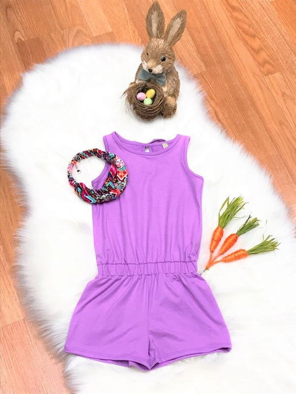 Toddler Solid Romper with Back Tie - Lavender