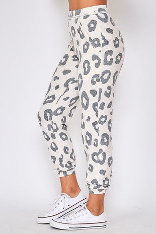 Animal Print Casual Knit Pants