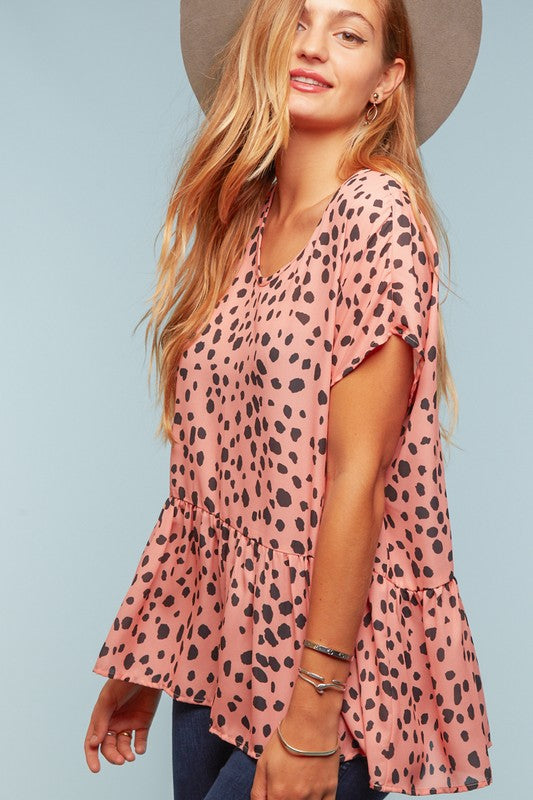 CORAL LEOPARD PRINT BABYDOLL PEPLUM TOP
