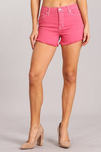 Rose Pink Denim Distressed Shorts