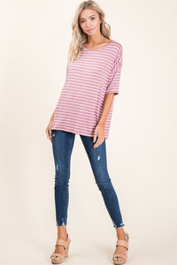 MAUVE CASUAL SHORT SLEEVE STRIPE TOP