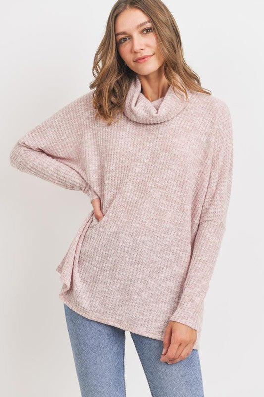 Turtle Neck Long Sleeves Waffle Knit Top - MULTIPLE COLORS