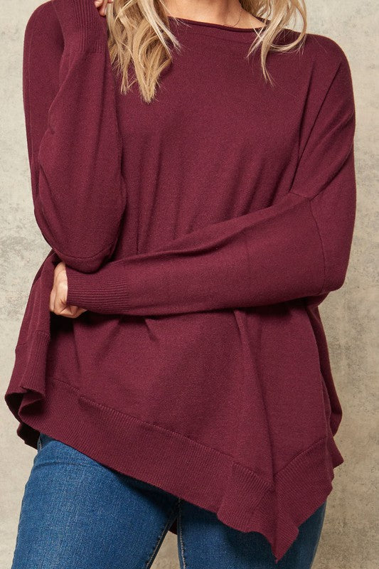 Merlot Oversized Asymmetrical Solid Knit Boatneck Sweater