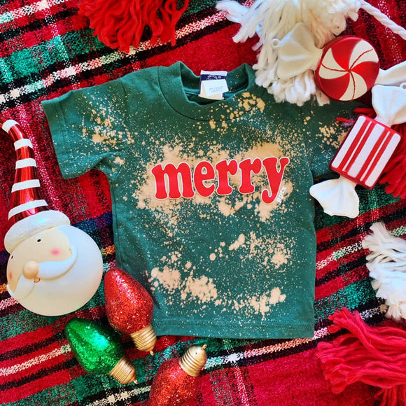 MERRY Bleached Graphic Tee  - Infant - Youth