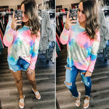 TIE DYE BOAT NECK KNIT TUNIC TOP
