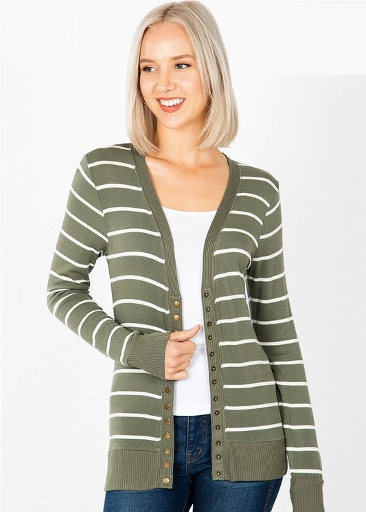 Olive + Ivory Snap Button Cardigan