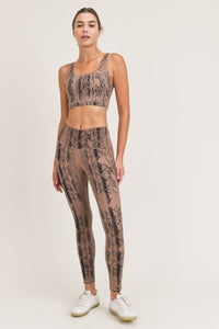 Dark Pink Serpentine Snake Print Sports Bra