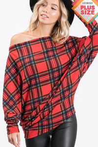 Curvy Long Sleeve Off the Shoulder Plaid Top