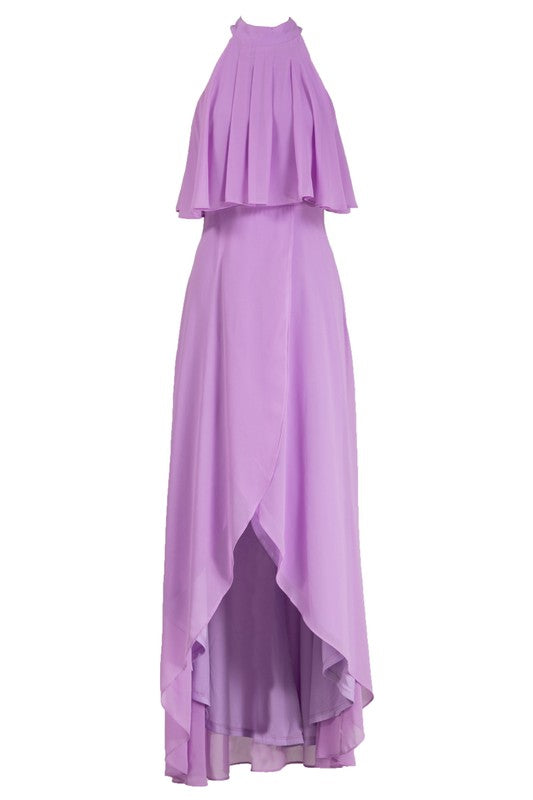 Bright Violet Ruffle Maxi Dress