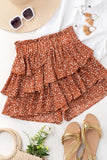 RUST LAYERED RUFFLED INK DROP POLKA DOT SKORT