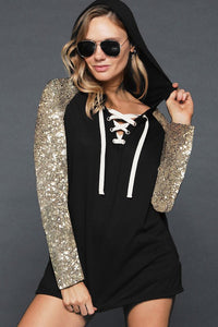 Sequin Sleeve Hacci Knit Lace Up Hoodie - Multiple Colors
