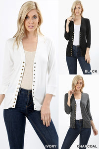 3/4 Sleeve Snap Button Cardigan - CURVY -  Multiple Color Options