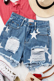 HIGH RISE STAR PRINT DISTRESSED CUT OFF DENIM SHORTS